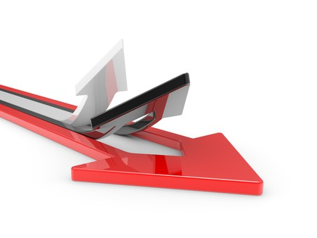 3D Arrows directed upwards isolated on a white background Stock Photo - 7536611