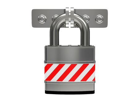 Steel padlock isolated on a white background Stock Photo - 7536614