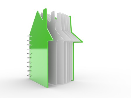 open book in the form of the house on a white background