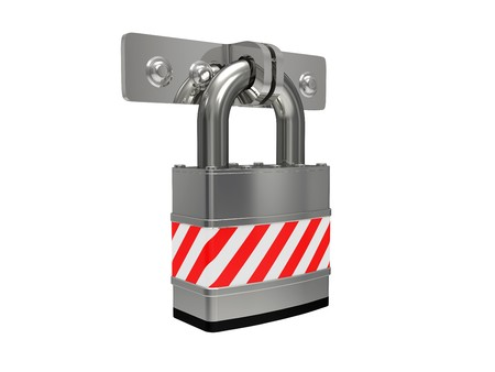Steel padlock isolated on a white background photo