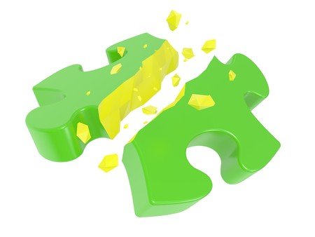 The broken puzzle on a white background Stock Photo - 7669708