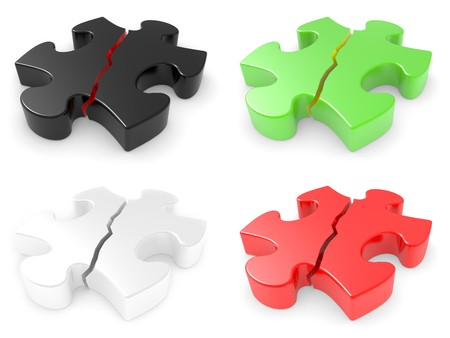 The broken puzzle on a white background Stock Photo - 7669714