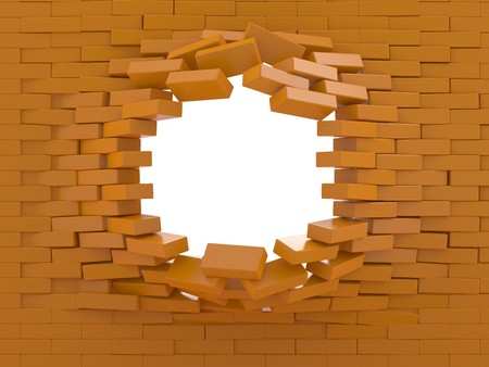 collapsed: Destruction of a brick wall on a white