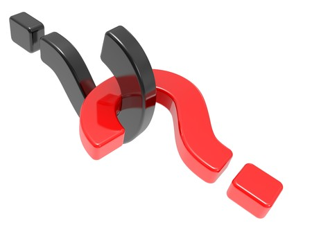 questioner: red and black question sign on a white Stock Photo