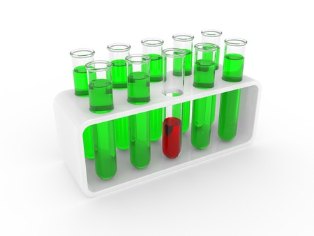 Test tubes on a support isolated on a white background Stock Photo - 7787977