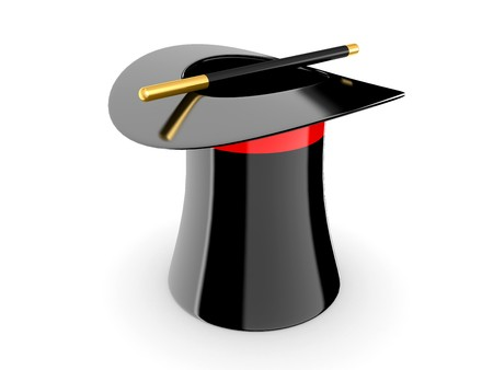 disappearance: black magic hat on a white background Stock Photo
