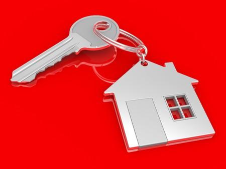 keychain: House shaped keychain isolated on white background