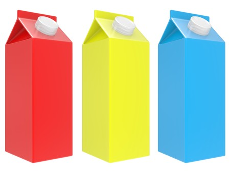 milk boxes isolated over a white background photo