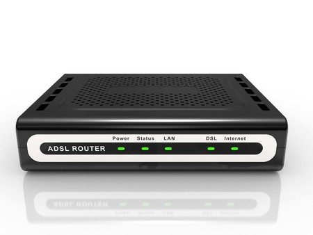 adsl: black ADSL router on a white background