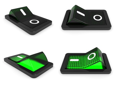 3D Green switch on white background - 3d render photo
