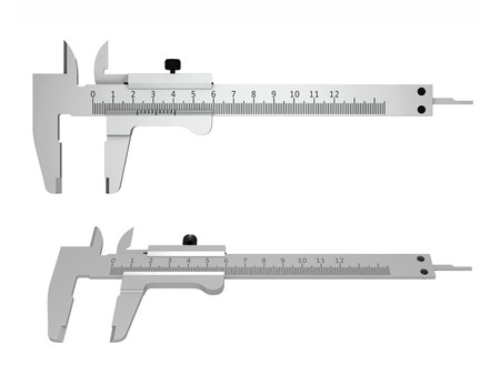 micrometer: Vernier calipers isolated over white background