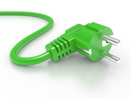 enchufe: el�ctrica verde enchufe aislado sobre fondo blanco