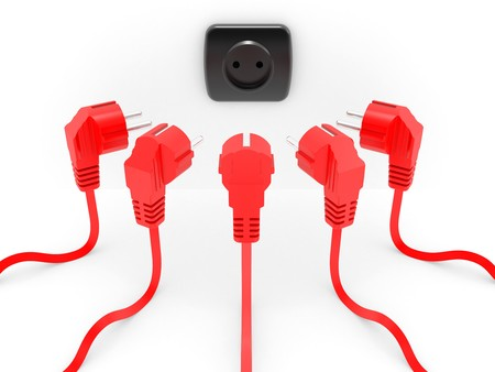 first form: Red electric plug the leadership concept