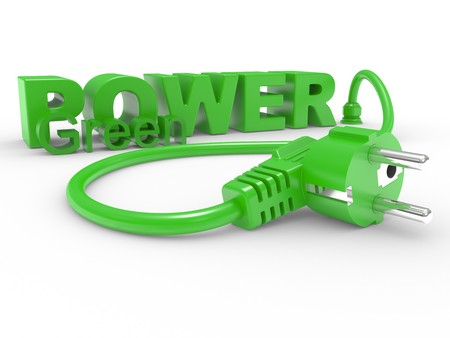 Green electric plug and inscription POWER on a white background photo
