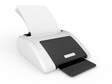 3D color printer device on a white background photo