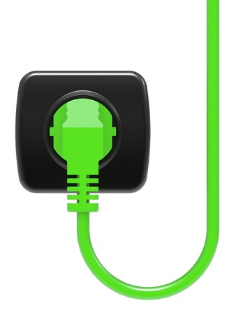 green electric plug and power outlet isolated on white background Stock Photo - 8031539
