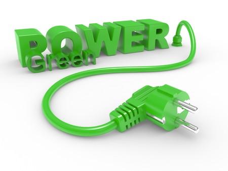 zasilania: Zielony elektrycznych typu plug i napis zasilania na biaÅ'ym tle Zdjęcie Seryjne