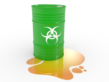 The biohazard barrels on a white background photo