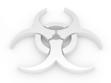 chemical warfare: 3D Biohazard sign on a white background