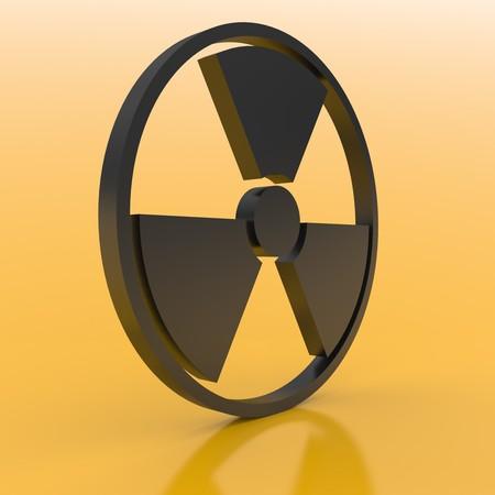 gamma radiation: 3D radioactive sign on a orange background