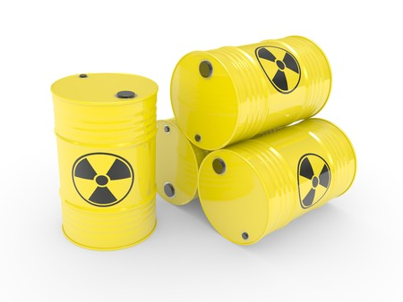 The radioactive barrels on a white background photo