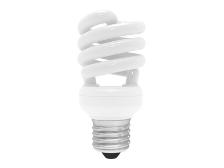 energy saving bulb with screw-thread (isolated) photo