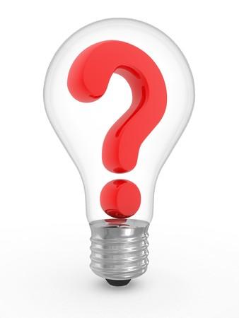 preguntando: Pregunta en una bombilla sobre un fondo blanco  Foto de archivo