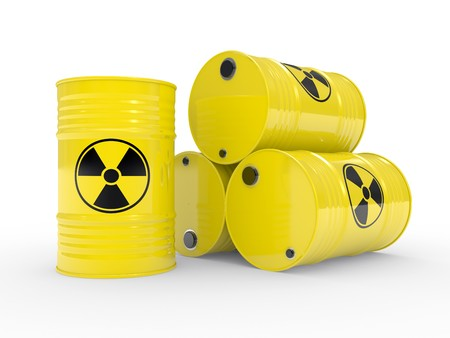 The radioactive barrels on a white background Stock Photo - 8180793