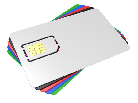 Blank mobile sim card on a white background photo