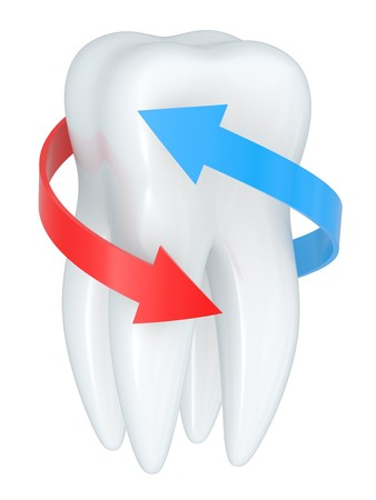 Tooth with blue and red arrows isolated on a white photo