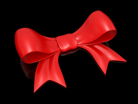 black ribbon bow: red bow on a black background Stock Photo
