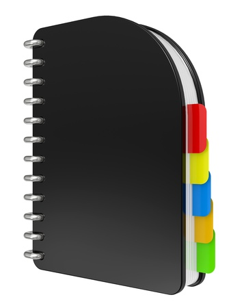 3D blank, black notebook isolated on white Stock Photo - 8316588