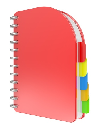 3D blank, red notebook isolated on white Stock Photo - 8316603