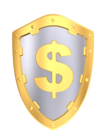 Gold shield with dollar sign isolated on a white background photo