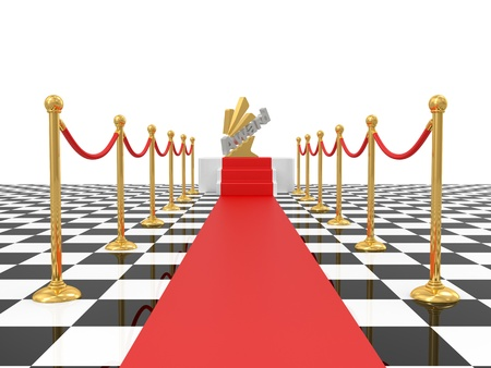 stanchion: square podium on white background. 3D image
