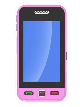 pink 3D smart phone on a white background photo