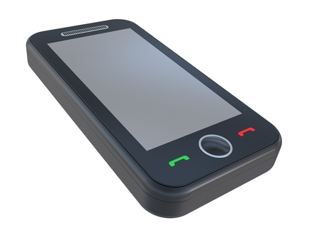 black 3D smart phone on a white background Stock Photo - 8498611