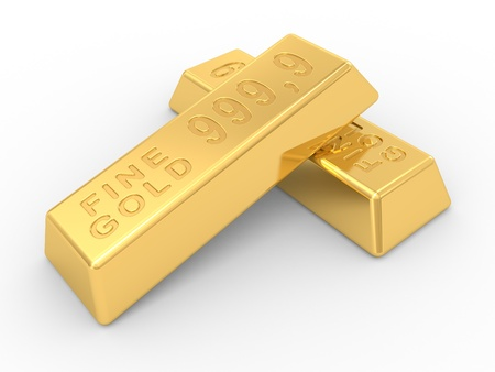 goldbars: the gold ingots on a white background