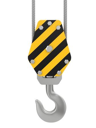 crane: crane hook 3d render on a white background