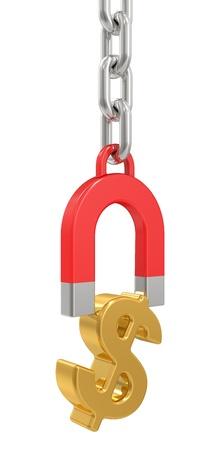 signos de pesos: im�n con cadena y signos de d�lar sobre blanco