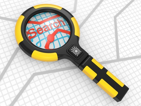 magnifier on a map, search concept photo