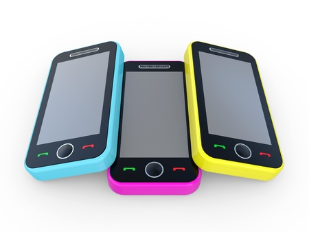 Multi-coloured 3D mobile phones on a white background Stock Photo - 8615246