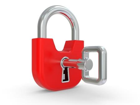 to lock: 3D rosso serratura con chiave su uno sfondo bianco Archivio Fotografico