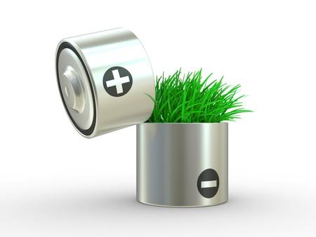 bater�a: El concepto ecol�gicamente una energ�a neta. Una bater�a y un c�sped sobre un fondo blanco