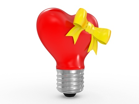 socle: 3D glass heart shape lamp bulb on white background