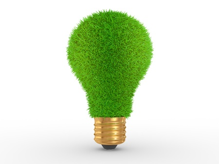 effective: Green energy. Green grass on lightbulb on a white background Stock Photo