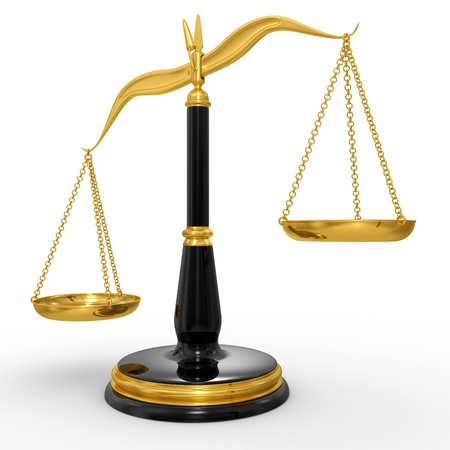 classic scales of justice, isolated on white background Stock Photo
