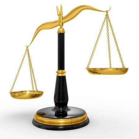 trial balance: escalas de cl�sicas de la justicia, aislados en fondo blanco Foto de archivo