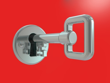 The silver key in keyhole with blur background photo