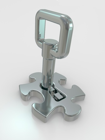 to incorporate: Puzzle and key. Login concept (metaphor with a puzzles) Stock Photo